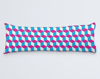 Geometric Large Pillow, Blue Pink Body Pillow, Body Pillow Cover, Modern Sofa Cushion, Body Pillow Case, Square Pattern Pillow, 20x54 Pillow