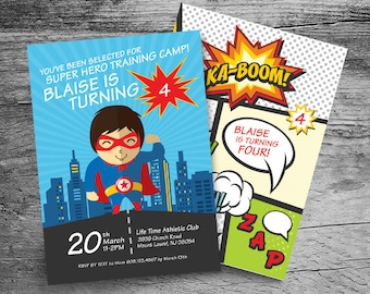 Super Hero Birthday Party Invitation and Thank You- 5x7 - Personalized Invitation - Printable File