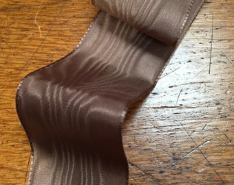 Vintage Brown Moire Taffeta Ribbon, 1 3/8' inches wide, Made in France - Sold by the Yard