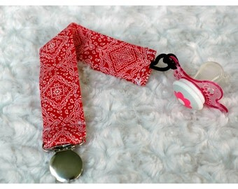Red  Fabric Pacifer Clip ~baby shower gift, universal, nuk, soothie, mam~