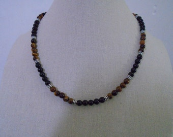 Mens Black And Brown Necklace, Mens Beaded Necklace, Stone Necklace.