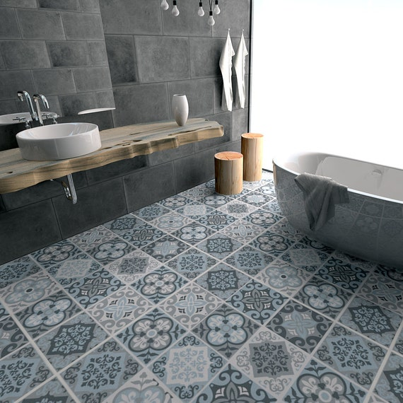 Floor tile decals flooring vinyl floor bathroom flooring for Vinyl flooring bathroom