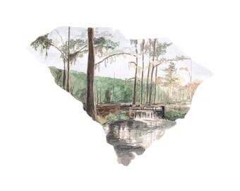 South Carolina State Map Art Print - South Carolina Home Decor - Wall Art - Watercolor Map Art Print - Unique Map - South Carolina Wedding