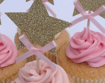 12 x Gold Star Cupcake Toppers with Pink Bow, Gold Star 1st Birthday Cake Toppers, Wedding Anniversary Cake Toppers