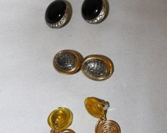 3 Vintage Pairs of Clip On Earrings, 1 Pair of Black Gem, 1 Pair of Gold Dangling, 1 Pair of Silver, They Are Old & Very Pretty,  NICE