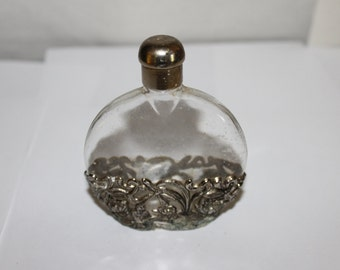 HUGE SALE Vintage Perfume Bottle, w Silver Plated or Pewter All Around the Base See Pictures, This is Gorgeous, Old Bottle, Shapely, NICE