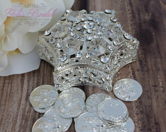 Wedding Arras, Arras de Boda, Unity Coins,  Silver Wedding Arras, Ring Box, Rosary Box
