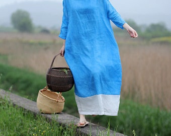 Linen blue contrast loose maxi dress BonLife