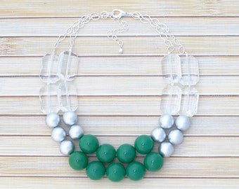 Emerald & Silver Bib Statement Necklace, Green Jewelry Beaded Necklace, Big Bold Jewelry Chunky Necklace , Simple Classic Style Necklace