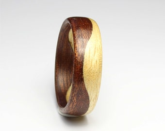 Wooden Ring Handcrafted In two kind of  Wood, Indian Rosewood & Maple wood