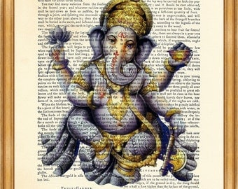 Ganesha print DICTIONARY ART PRINT on Vintage Dictionary Page 8'' x 10'' from Antique Book