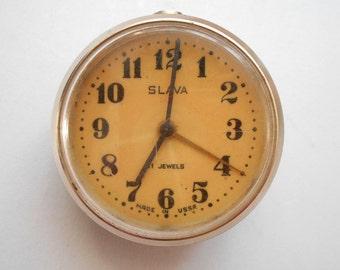 Vintage small mechanical alarm clock SLAVA, Clock Parts - SLAVA