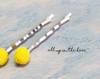 Yellow Flower Bobby Pins - Yellow Hair Pins