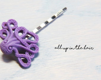 Purple Octopus Bobby Pins