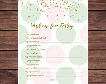 Pink Mint and Gold Wishes for Baby Card, Pink Mint Gold Confetti Wishes for Baby Card, Pink and Mint Dots Instant Download PDF Printable