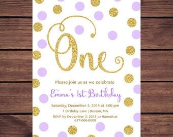 Purple and Gold 1st Birthday Invitation Girl, Any Age Purple Gold Dots Girl First Birthday Invitation, Polka Dot Printable Digital JPEG PDF