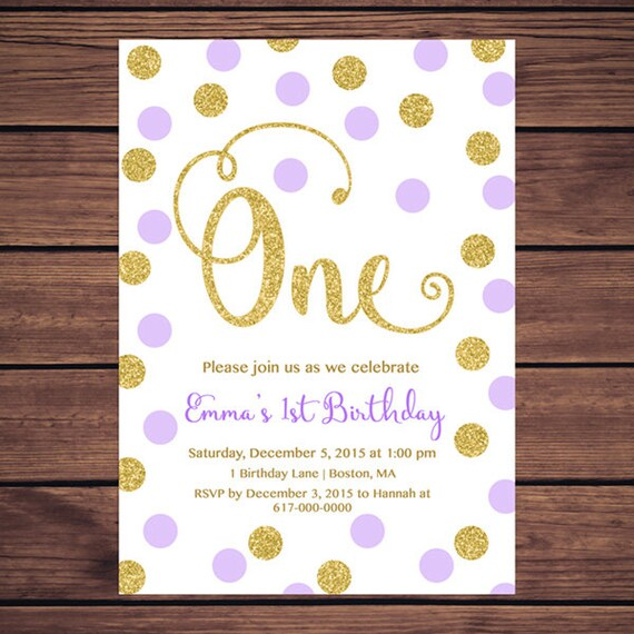 Purple And Gold St Birthday Invitation Girl Any Age Purple - 1st birthday invitations girl purple