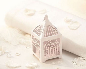 Delightful White Birdcage Design Wedding Favour Box - Pack of 10