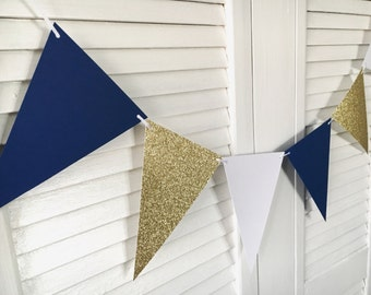 Royal Prince Banner | 12 Pennants | Royal Prince Babyshower | Royal Prince Party | Blue and Gold Theme | Party Banner | Boy First Birthday