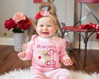 First Valentine's Day Pajamas, Valentine's Day Pajamas, Valentine PJ, Girl's Valentine Pajama, Bear, Embroidery, Applique