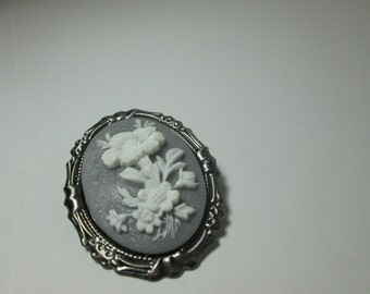 White Flowers  on Grey  background Cameo Brooch/ Item A383