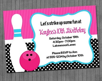 65% OFF SALE Bowling Invitation
