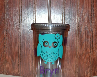 Custum Tumbler-Personalized Owl Cup with Name