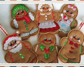 Set of 6 Gingerbread men hanging christmas decoration