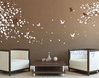 cherry blossom wall decals Tree wall decals Pink floral wall sticker Large tree branch wall decals Nursery tree and birds wall decals-28