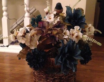 Blue, Purple & White Floral Centerpiece in Woven Basket