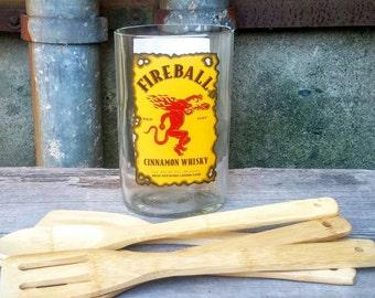 Bamboo Serving Set Utensil Holder - Upcycled Counter Top Fireball Liquor Bottle Kitchen Decor