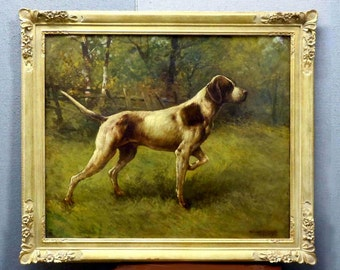 American School Pointer Hunting Dog Oil Painting RET by AVD Mrch 1909