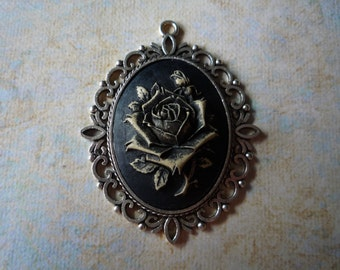 """Antique Silver Rose Pendant 2 1/2"""" by 2"""""""