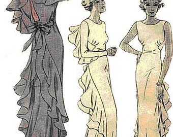 1934 Finned Evening Gown Pattern Size 36 bust