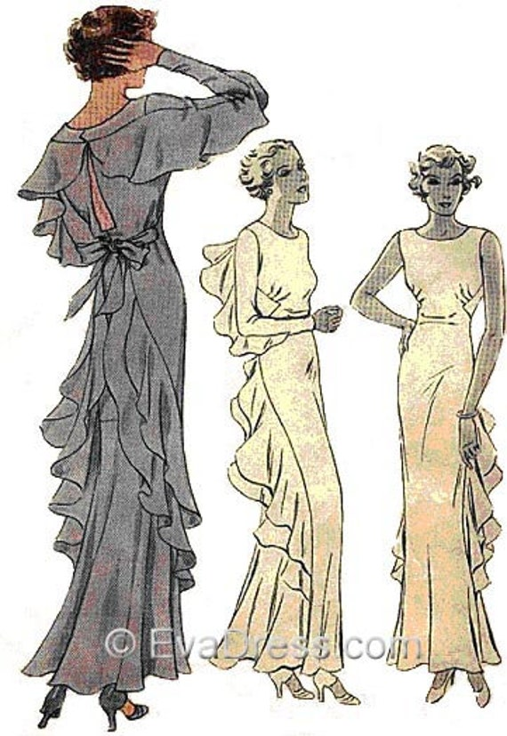 1930s Dresses, Clothing & Patterns Links 1934 Finned Evening Gown Pattern Size 36 bust $25.00 AT vintagedancer.com