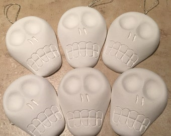 Set of 6 Day of the Dead Sugar Skulls Paintable Ornaments Craft Supply 3D Skull Paintable Sugarskulls DIY