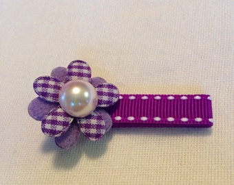 Purple flower on alligator hair clip