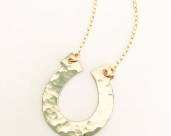Hammered Horseshoe Necklace Sterling Silver Gold Fill
