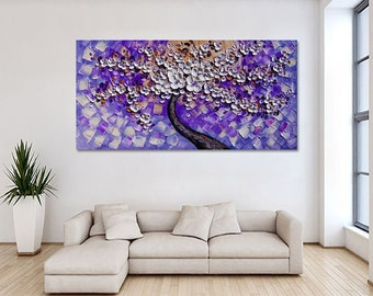 Handgemalten Weißen Blume Baum Auf Blau Lila Wand Kunst Bild Für Wohnzimmer  Wohnkultur Dicken Farbpalette Ölgemälde