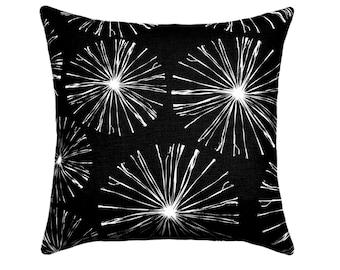 Black Pillow Cover, Sparks Black Throw Pillow, Black and White Pillow Cover, Euro Pillow Case, Black Throw Pillow Zippered Cushion Cover