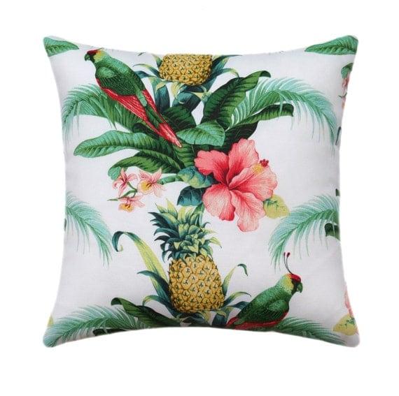 Tropical outdoor pillow cover hawaiian decor pineapple for Pineapple outdoor decor