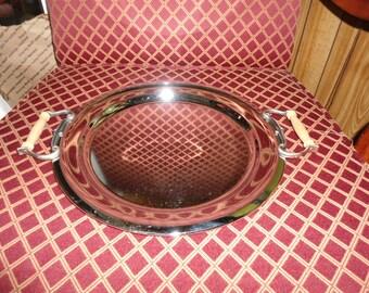 Kromex Serving Tray, Round Waiter Tray, Bar Tray, Mid Century Modern, Chrome Tray, Vintage Tray, Mid Century, Vintage Kromex, Chrome