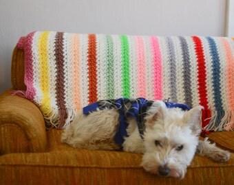 Hand knit Vintage Afghan Blanket