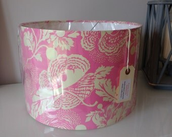 NEW! 30cm Drum Lampshade in Gorgeous Amy Butler Midwest Modern Fresh Poppies Rose Cotton Fabric