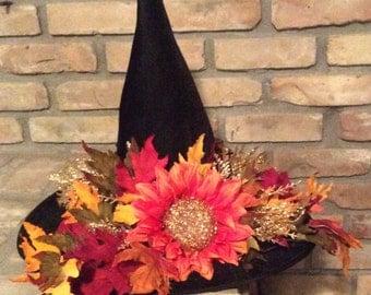 Black Velour Halloween Witch Hat