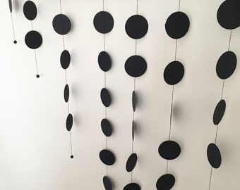 Natural tree branch mobile of black paper discs and beads - Modern, minimalist