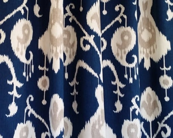 Ikat Shower Curtain Etsy - Blue and brown shower curtain fabric