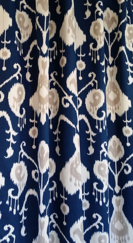 Custom Fabric Shower Curtain Java Ikat Navy Blue Sand Cream