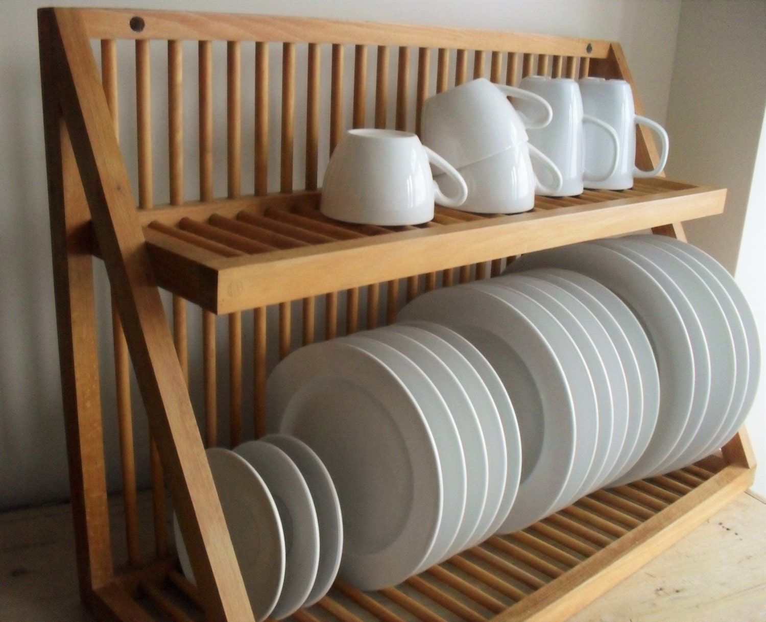 Reserved for a oak plate rack vintage wooden plate storage - Dish racks for small spaces set ...