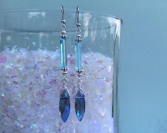 Blue icicle earrings